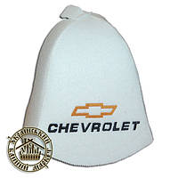 """CHEVROLET"" / ""Шевроле"", шапка для бани (Э), белая"