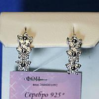 Серебряные серьги с цирконием Три ромашки 5809-р