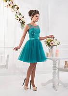 Восхитительное вечернее платье в стиле Беби-долл с лифом украшенным милыми бусинами и атласным поясом