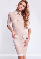 Гипюровое женское платье рубашка с крупными пуговицами и накладными карманами рукав три четверти коттон мемори