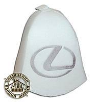 """""""LEXUS"""" / """"Лексус"""", шапка для бани (Э), белая"""