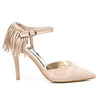 Женские туфли замшевые летние с бахромой бежевые
