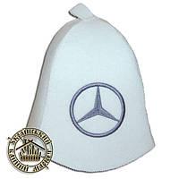 """Mercedes"" / ""Мерседес"", шапка для бани (Э), белая"