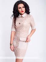 Гипюровое женское платье рубашка с пуговицами и накладными карманами рукав три четверти коттон мемори батал