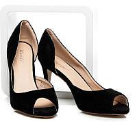 Замшевые женские летние туфли с открытым носом черные