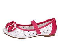 Туфли летние для девочки детские белые с розовым