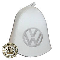 """Volkswagen"" / ""Фольксваген"", шапка для бани (Э), белая"