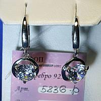Серебряные серьги-подвески с цирконием 5836-р, фото 1