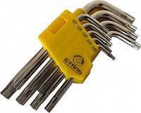 Набор Г-образных ключей Сталь TORX с отверстием 9 ед. (арт.48104)