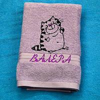 Полотенце махровое с котиком и Вашим именем, фото 1