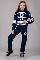 Детский трикотажный спортивный костюм для девочки темно-синий