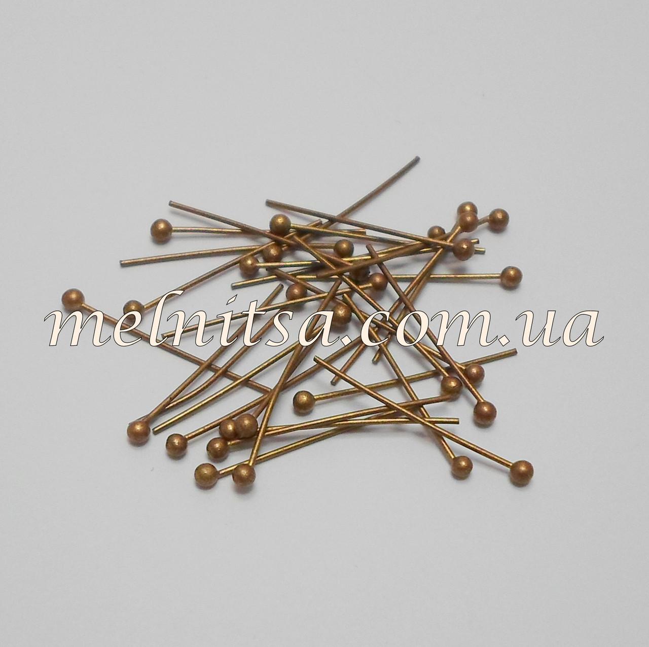 Бижутерные гвозди (пины), 3 х 0,15см, бронза, 20 шт.