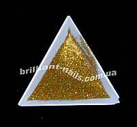 Зеркальный блеск яркое золото голографический, фото 1