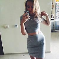 Молодежный костюм короткий топ+юбка, 4 цвета, (40-46)