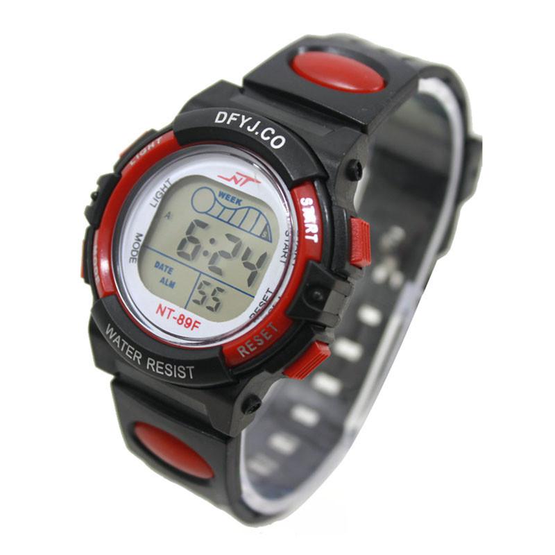 Часы электронные детские с секундомером, будильником и неоновой подсветкой Welle red (∅35 мм)