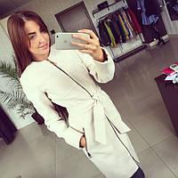 Женское модное демисезонное кашемировое пальто красного и белого цвета на молнии АБ 0311