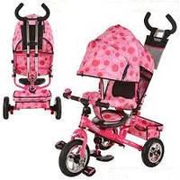 Велосипед трехколесный м м 5361-8-1 розовый с надувными колесами. turbo trike.
