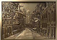 """Картина резная из дерева """"Город"""""""