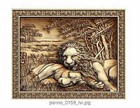 """Картина резная из дерева """"Львы"""""""