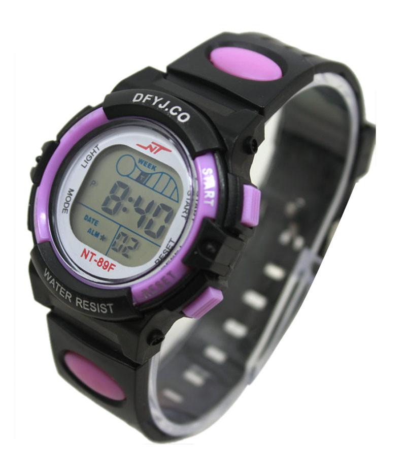 Годинники електронні дитячі з секундоміром, будильником і неоновим підсвічуванням Welle purple (∅35 мм)