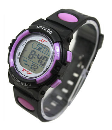 Годинники електронні дитячі з секундоміром, будильником і неоновим підсвічуванням Welle purple (∅35 мм), фото 2