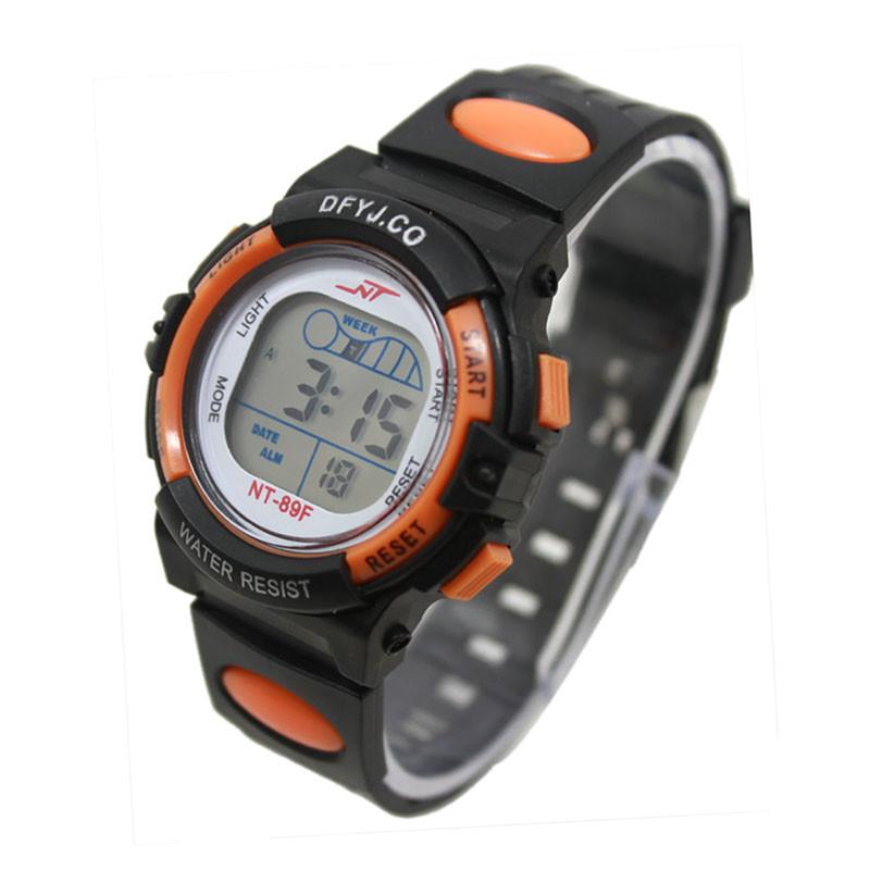 Часы электронные детские с секундомером, будильником и неоновой подсветкой Welle orange (∅35 мм)