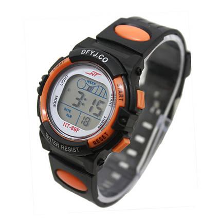 Часы электронные детские с секундомером, будильником и неоновой подсветкой Welle orange (∅35 мм), фото 2