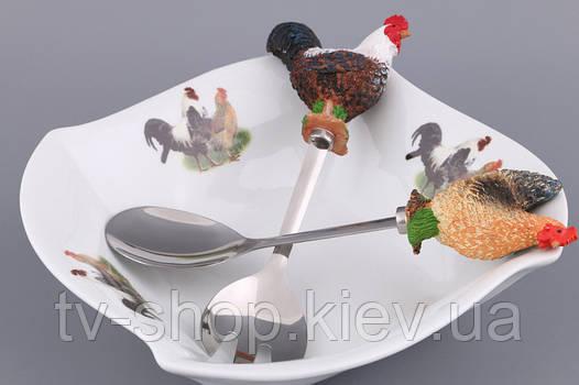 Салатник с ложкой и вилкой Курица и петух
