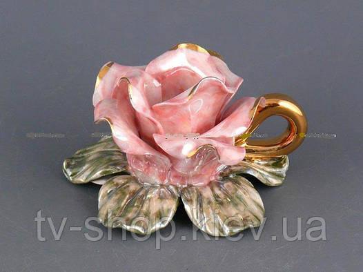 Подсвечник Роза ,8 см (розовая,оранжевая)