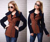Женское короткое демисезонное кашемировое пальто - жакет АБ 0324