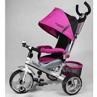 Велосипед трехколесный детский m 5387-2 усиленная двойная ручка розово-белый eva foam