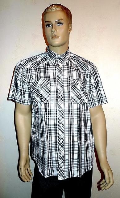 Рубашка Aygen черная клетка короткий рукав