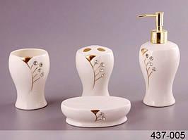 Набор для ванной комнаты керамический 4 предмета Колосок 437-005
