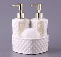 Набор для ванной комнаты и кухни керамический 3 предмета Лара 437-018
