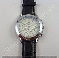 Мужские часы Patek Philippe 013739 серебристые с белым циферблатом на черном ремешке