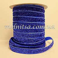 Лента бархатная с люрексом, 1 см, синяя