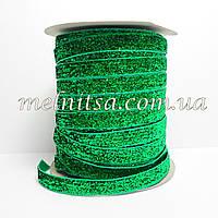 Лента бархатная с люрексом, 1 см, зеленая
