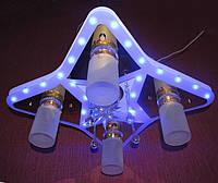 """Люстра-торт """"Космос"""" WT (светлая) 550*650; Светодиодная подсветка LED - голубой, сиреневый, красный цвета; пат"""
