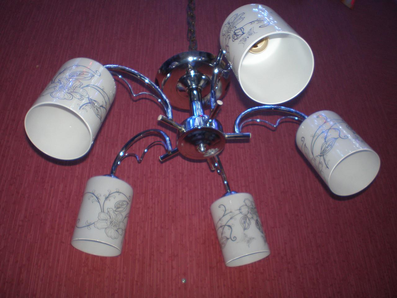 Люстра на 5 лампочек для потолков средней высоты CR (хром)  P6-30417/5/CR (2шт. - ящ.)