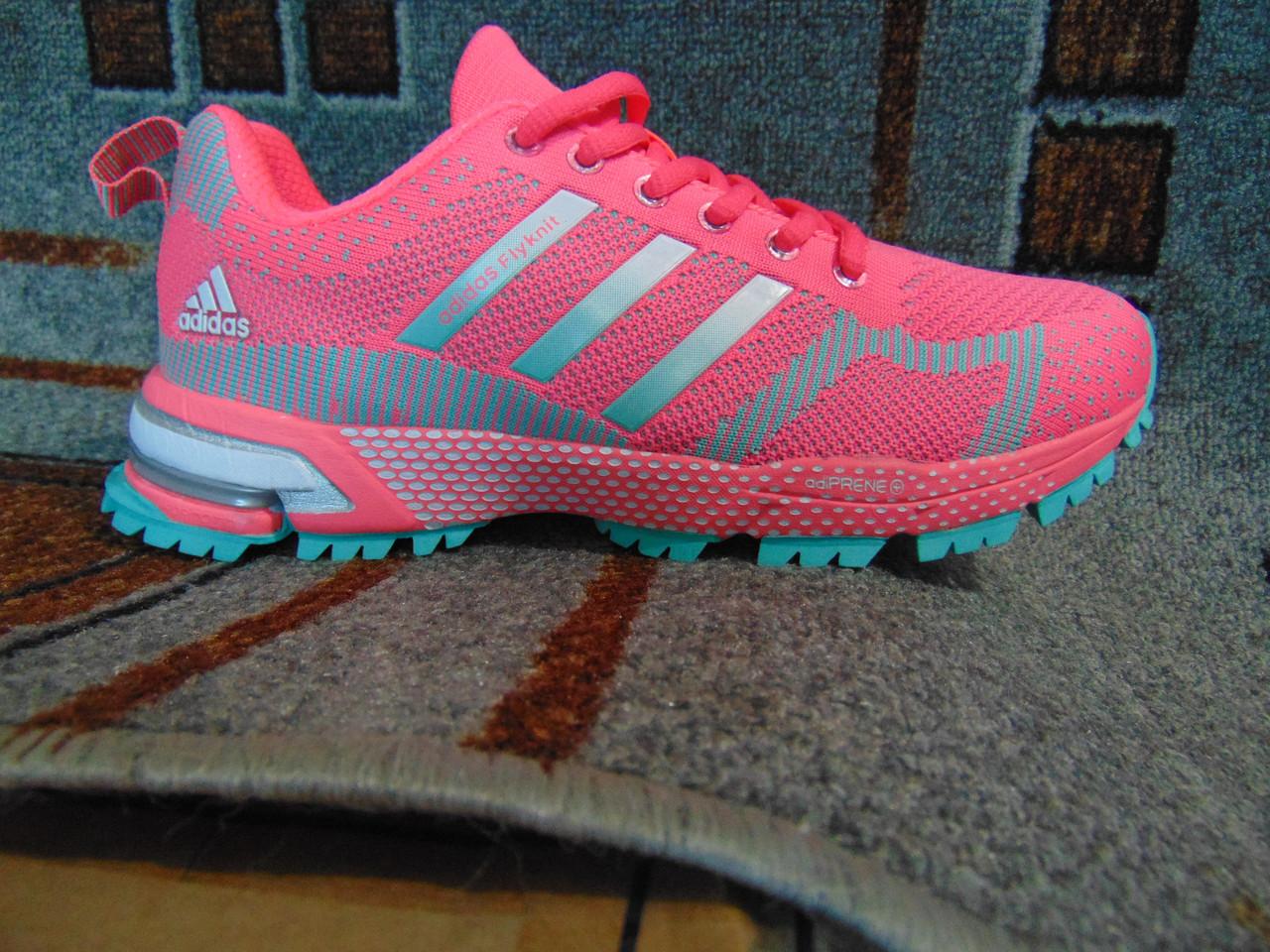 7ebfd2c7 Женские беговые кроссовки Adidas Marathon Flyknit розовые люкс копия -  nikestep.com.ua в
