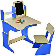 Парта с мольбертом растущая + стульчик, синяя, фото 1
