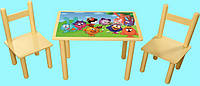 Детский набор столик и два цветных стульчика Смешарики Арт. 066