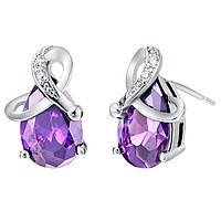 Сережки Романтика фиолетовый покрытие 18К платина