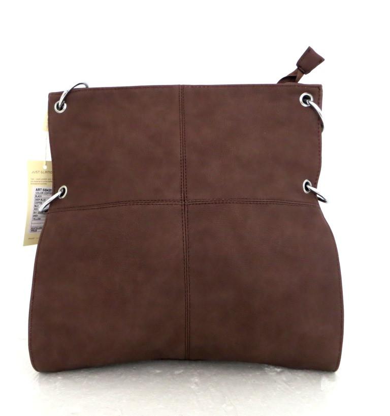 Удобная вместительна женская сумка Эко-кожа. Коричневая