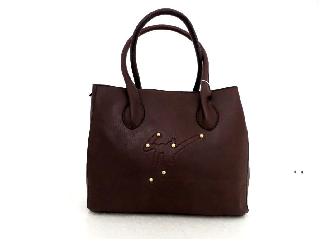 Удобная вместительна женская сумка Эко-кожа. Коричневая, фото 1