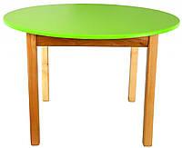 Деревянный (салатовый) столик с круглой столешницой Финекс Плюс