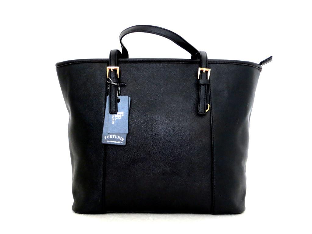 Удобная вместительна женская сумка Эко-кожа. Черная