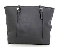 Удобная вместительна женская сумка Эко-кожа. Серая, фото 1