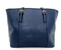 Удобная вместительна женская сумка Эко-кожа. Синяя, фото 1