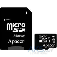 Карта памяти Apacer 16GB microSDHC class 10 UHS-I + SD Adapter (AP16GMCSH10U1-R)
